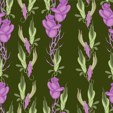 Buds of roses on the deep green background Vector