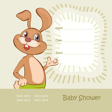 whelps: Funny hare and baby shower Illustration