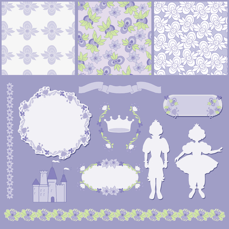 Pattern and frames for fairy tale Vector