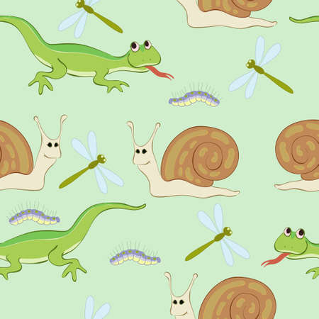 Caterpillar, dragonfly,lizard and snail Vector