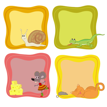 Jolly animals in the frames Vector