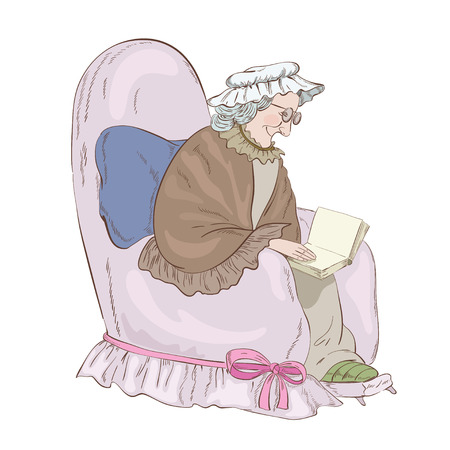 Old woman in the  armchair Иллюстрация