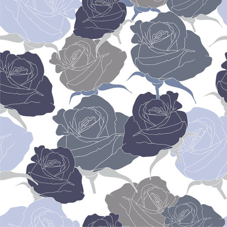 Blue roses on the white background Illustration