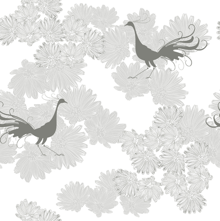 Monochrome pattern with  pheasant Vector