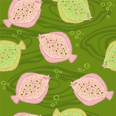 flounder: Pattern with flounder Illustration