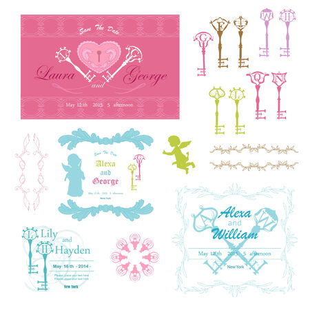 Weddind frame with key Vector