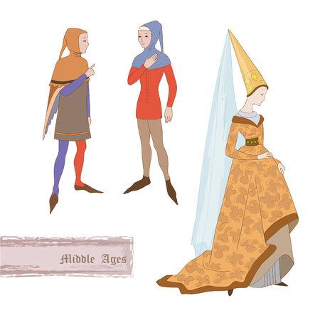 medioevo: Costumi medioevali Vettoriali