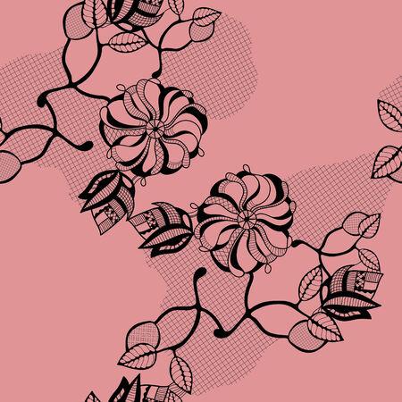 Black flower in lace Illustration