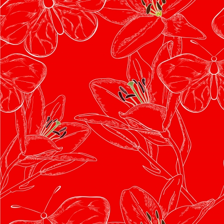 Red lily and butterfly