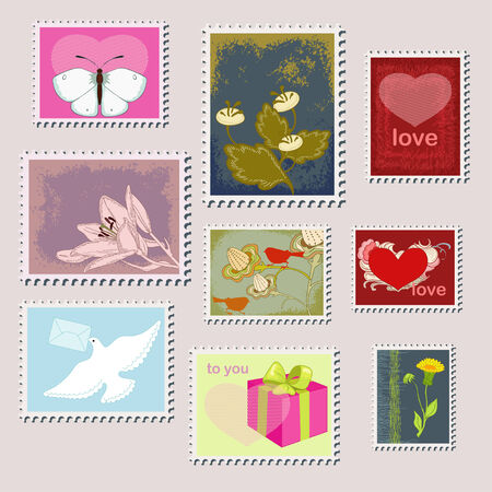 Stamps and nature Vector
