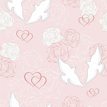 rose blanche: Colombe blanche et rose blanche Illustration