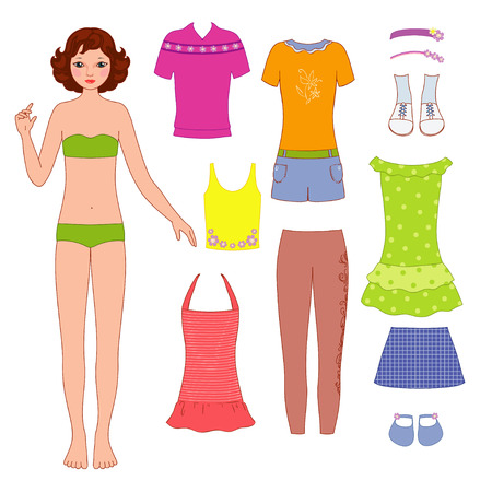 Paper doll and dress Illustration