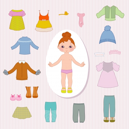 Paper little doll and clothes Illustration