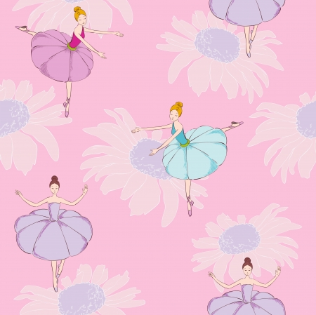 ballet dancing: Dancer and  flowers Illustration