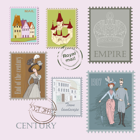 the past: Past century on stamp