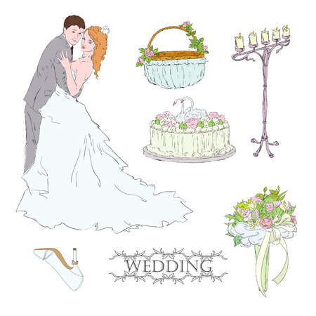 Married couple and  wedding attribute