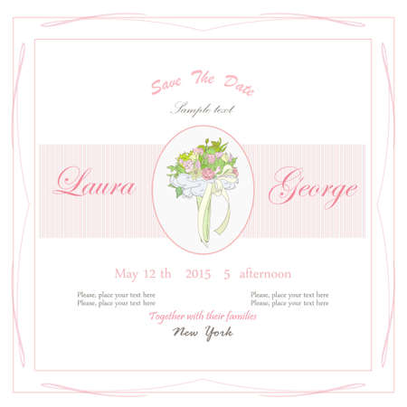 Wedding frame and bunch of flowers Vector