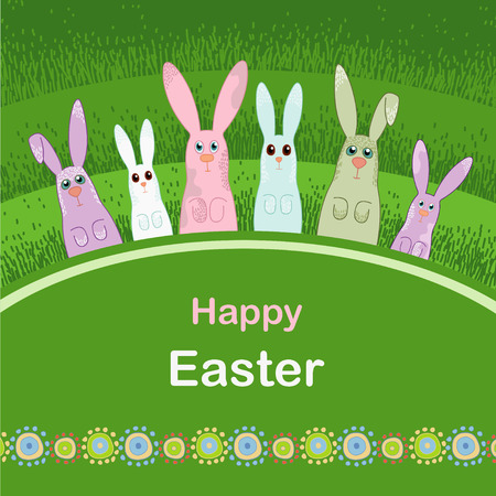 Green grass and merry rabbits Vector