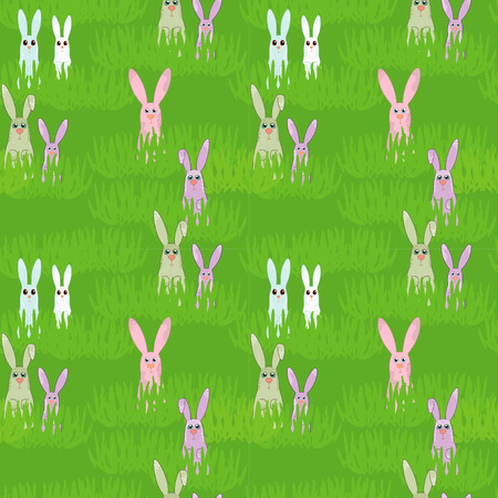 Easter seamless with rabbit and grass Illustration