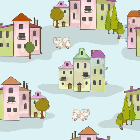 Town and dog on the seamless Illustration