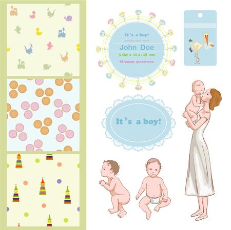 massage bébé: Maman avec son fils et cadres de douche de bébé