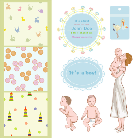 massage symbol: Mommy with son and frames for baby shower Illustration