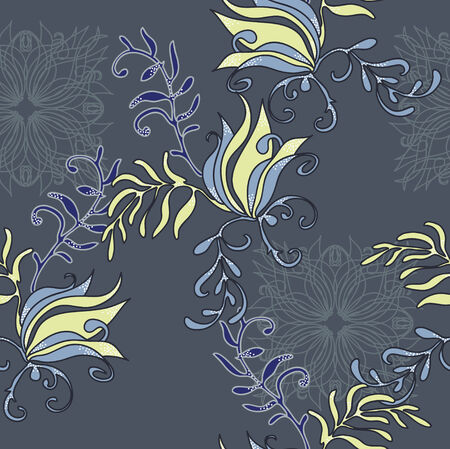 Deep gray seamless with floral elements