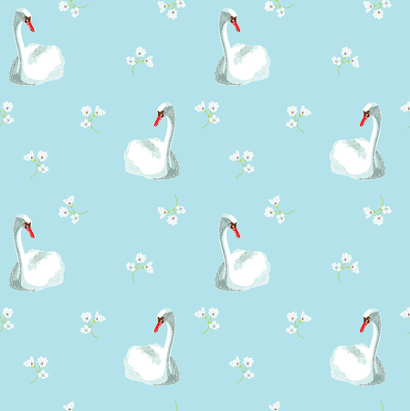 swan: White swan on blue  background Illustration