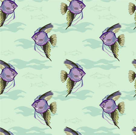 seafoods: Sea pattern with fish Illustration