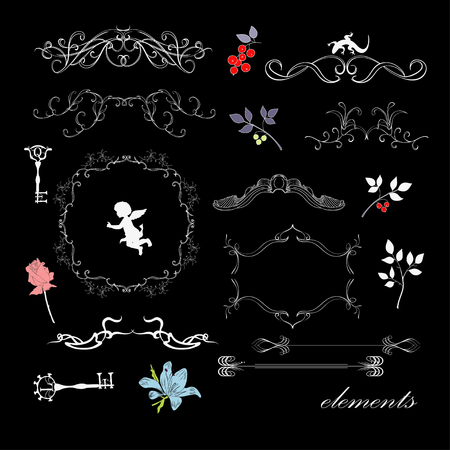Frames and elements on black background Vector