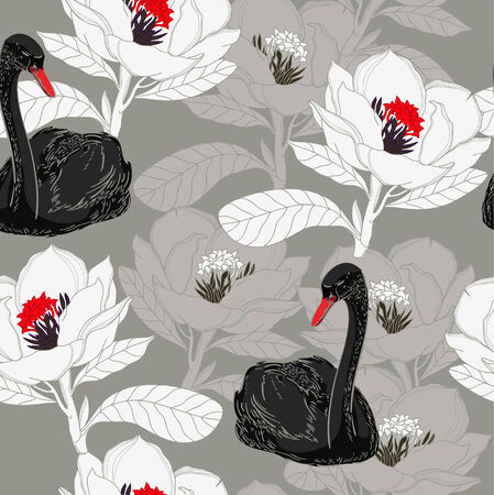 Floral pattern with black swan Illustration