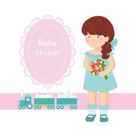 Pink frame for girls Illustration