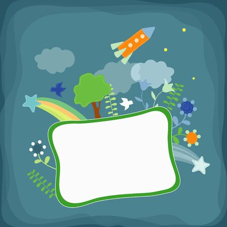 Rocket , flowers, tree on the frame Vector