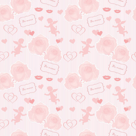 Wedding pattern with angel and roses Vector