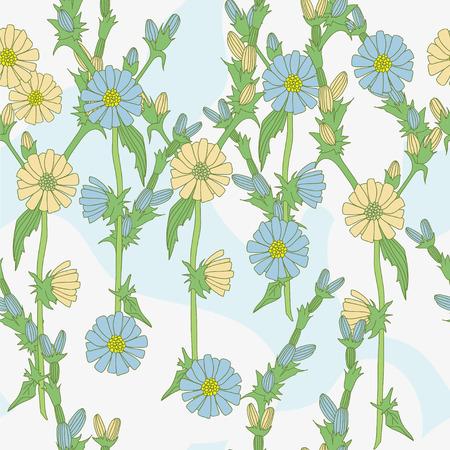 Field flowers on light background