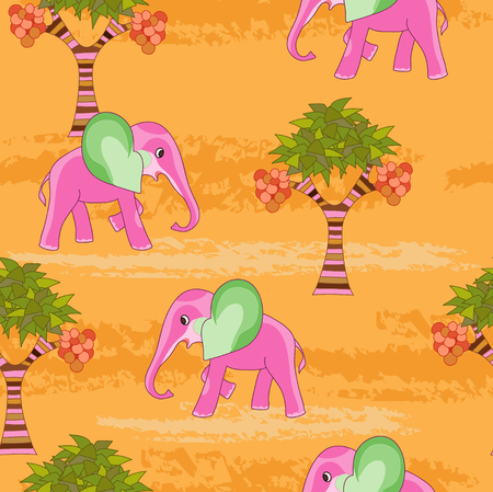 botanics: Pink elephant on orange seamless Illustration