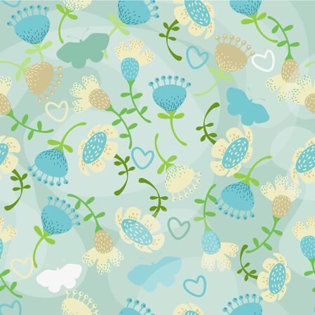Pattern with flowers and butterfly