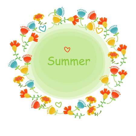 Summer garland with bright flowers Vector