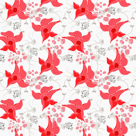 Red flowers seamless pattern Illustration
