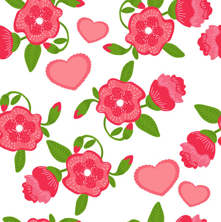 Red bright flowers seamless pattern Illustration