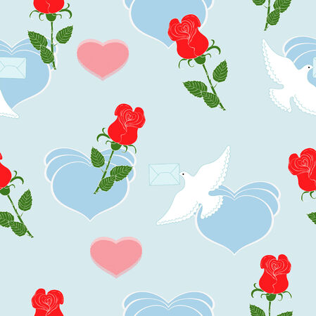 carrier pigeons: Red roses and dove on blue background