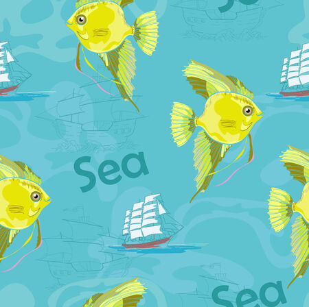 Yellow fish on blue background Illustration