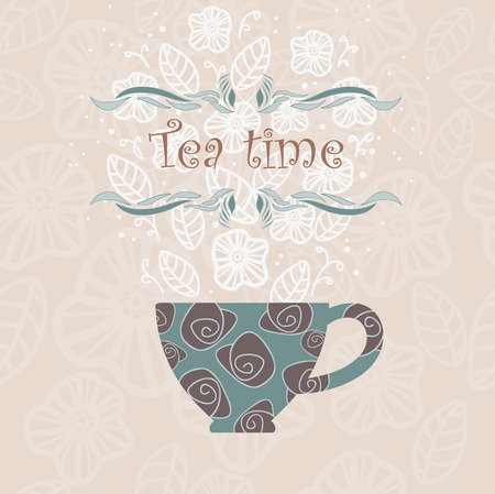 Decorative cup and text Illustration