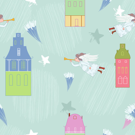 Cupid in blue town  Vector