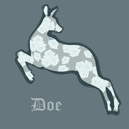 doe: Ornamental silhouette of doe