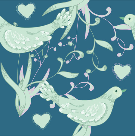 Birds and hearts on deep seamless