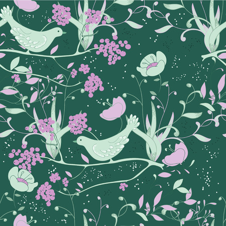 Green seamless with birds Illustration