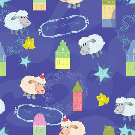 Blue xmas seamless with sheep Vector