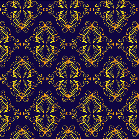 Retro pattern and gold floral elements