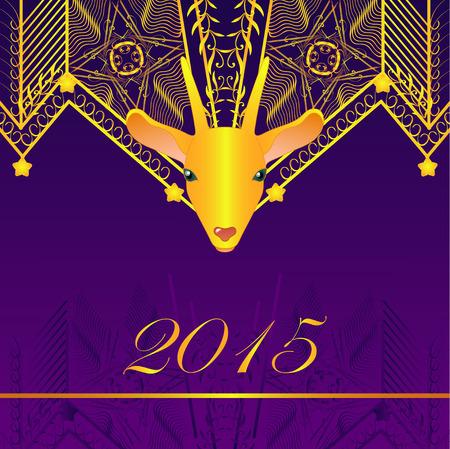 Deep purple frame with gold goat Illustration